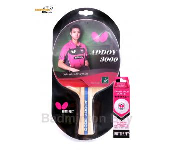 Butterfly Addoy 3000 FL Shakehand Table Tennis Racket Ping Pong Bat With A40+ Balls