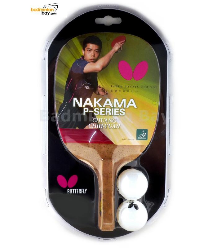 Butterfly Nakama P-5 Penhold Table Tennis 1-Ply Kiso Hinoki Racket Preassembled With Rubber
