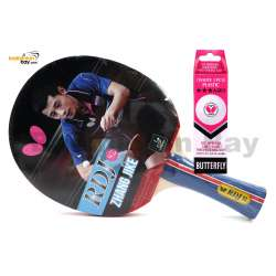 Butterfly RDJ-S2 FL Shakehand Table Tennis Racket Ping Pong Bat With A40 Balls