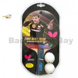 Butterfly Timo Boll 2000 FL Shakehand Table Tennis Racket with 2 Balls