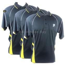 10 pieces Team Jerseys (5pcs Size L & 5pcs Size XL): Fleet Collared Dri Fit FT 0001 Black Yellow T-Shirt