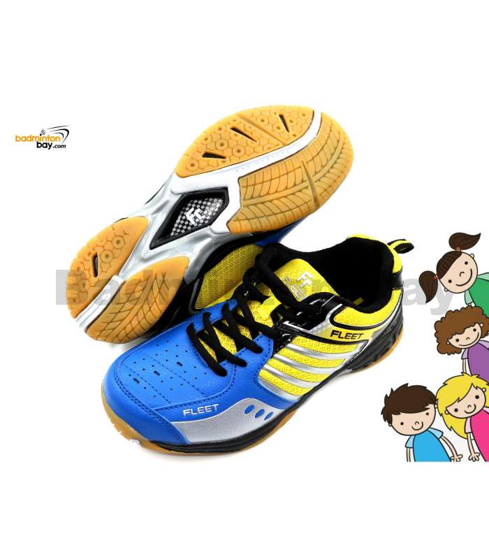 Fleet FT BS 29 Blue Yellow Badminton Court Shoes For KIDS