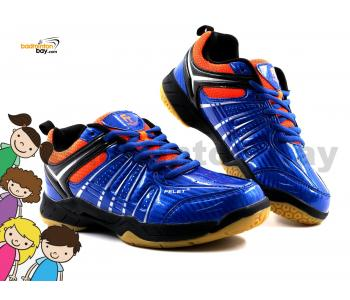 Felet - FT BS 33 Royal Blue Orange Badminton Court Shoes For KIDS