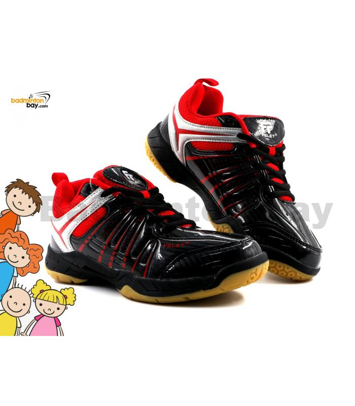 Felet - FT BS 34 Black Red Badminton Court Shoes For KIDS