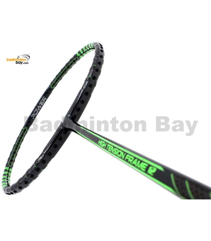 Fleet High Tension Frame 12 Metallic Black With Green Stripes Badminton Racket (4U)