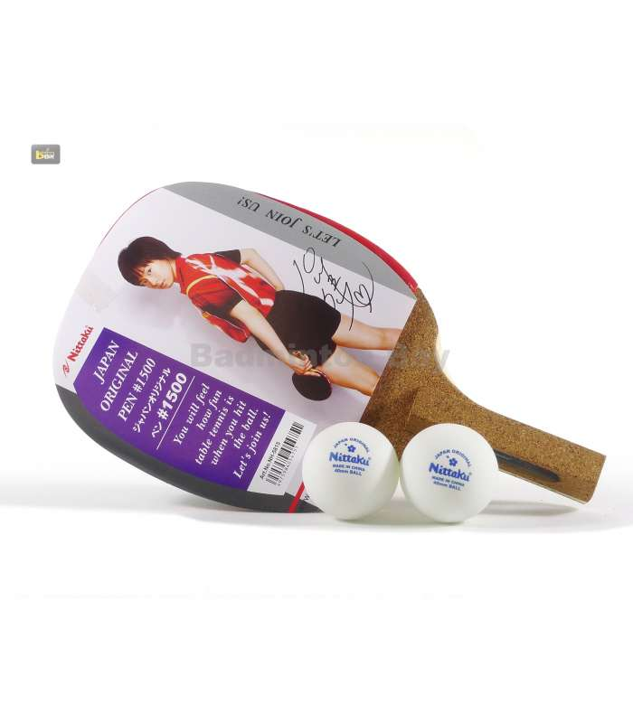 ~ Out of stock  Nittaku Pen 1500 Japanese Penhold Table Tennis Racket with 2 balls