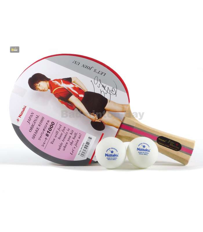 ~ Out of stock  Nittaku Shake 1000 FL Shakehand Table Tennis Racket with 2 balls