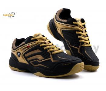Yonex Akayu S Black Matte Gold Badminton Shoes In-Court With Tru Cushion Technology