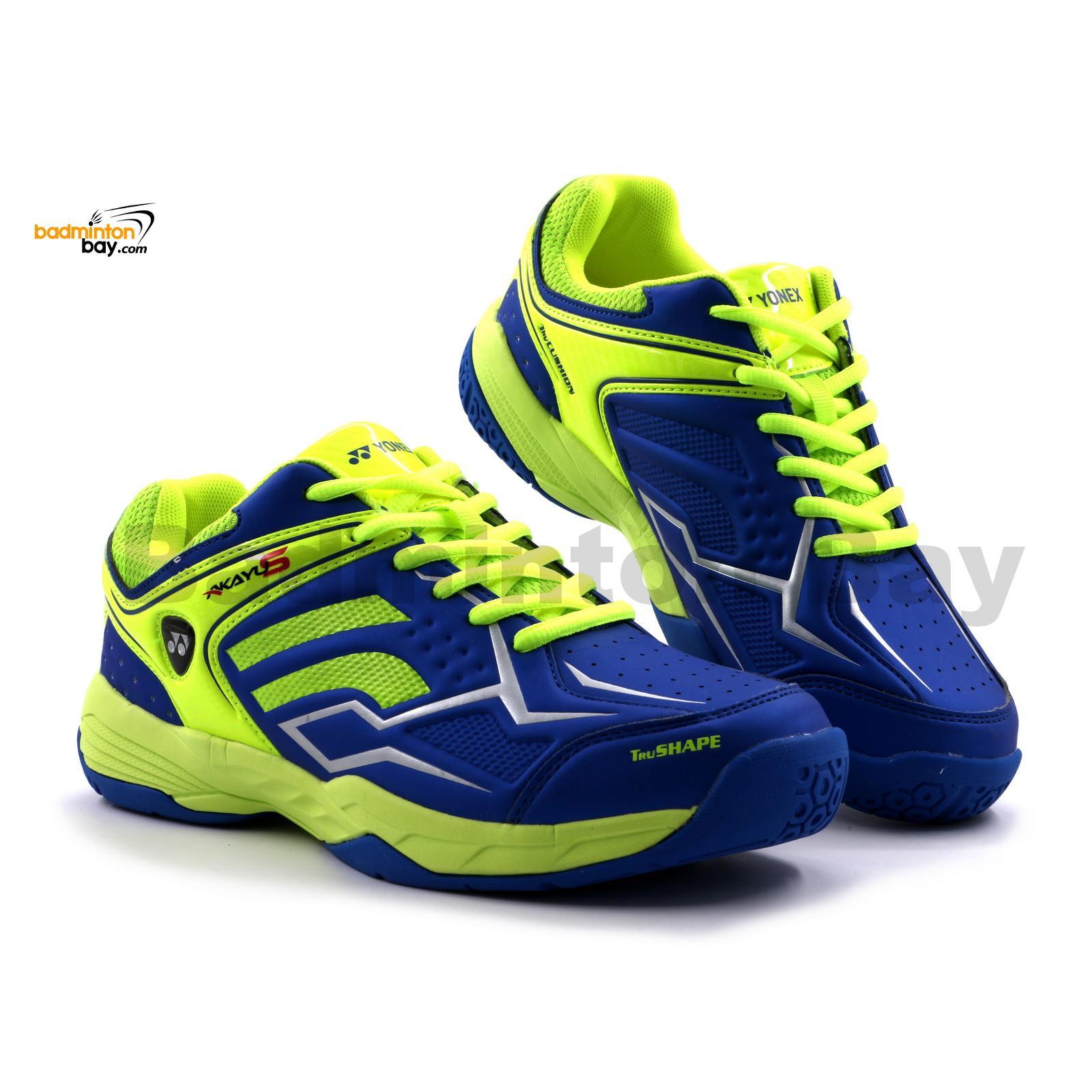 Yonex Akayu S Blue Neon Lime Green Badminton Shoes In Court With Tru Cushion Technology
