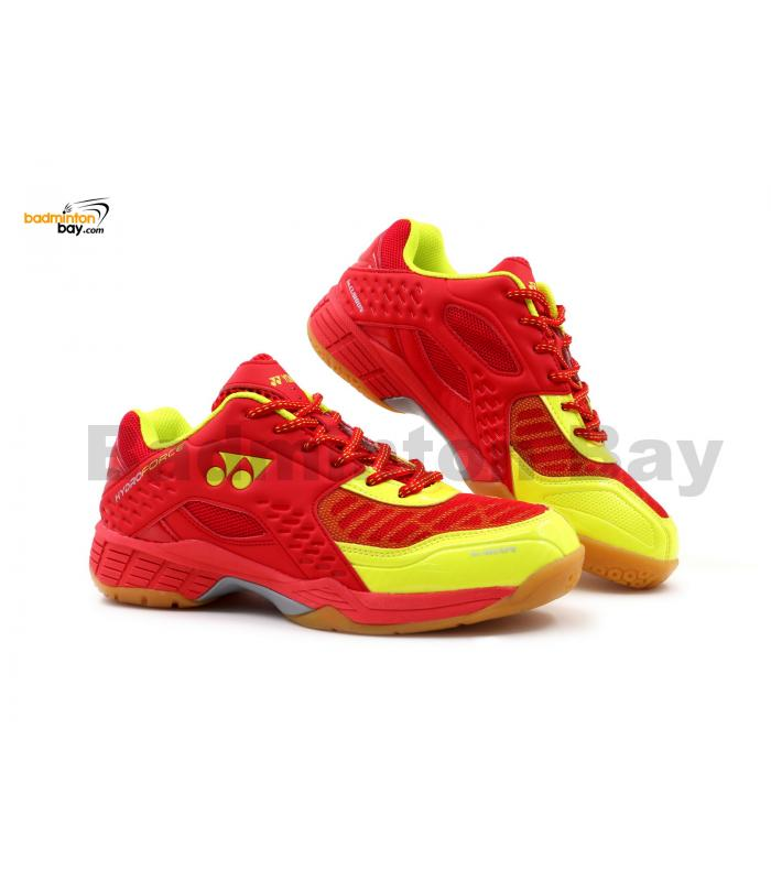 Yonex Hydro Force Red Lime Green Badminton Shoes With Tru Cushion